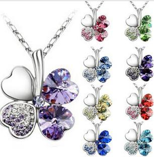 New Boho Jewelry Silver Plated Link Chain Crystal Leaves Flower Pendant Necklace For Women 9 Colors U Pick wedding jewelry MG8