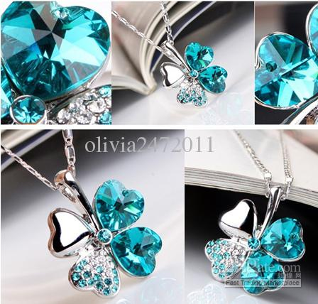 New Boho Jewelry Silver Plated Link Chain Crystal Leaves Flower Pendant Necklace For Women U Pick wedding jewelry MG8