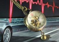 relojes vintage para unisex al por mayor-Reloj de bolsillo unisex estilo vintage, bola de cristal de bronce para hombre Reloj de bolsillo para mujer mecánico