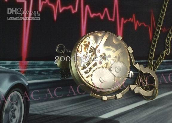 유니섹스 빈티지 스타일 청동 크리스탈 볼 포켓 시계 남성 기계식 여성 주머니 시계