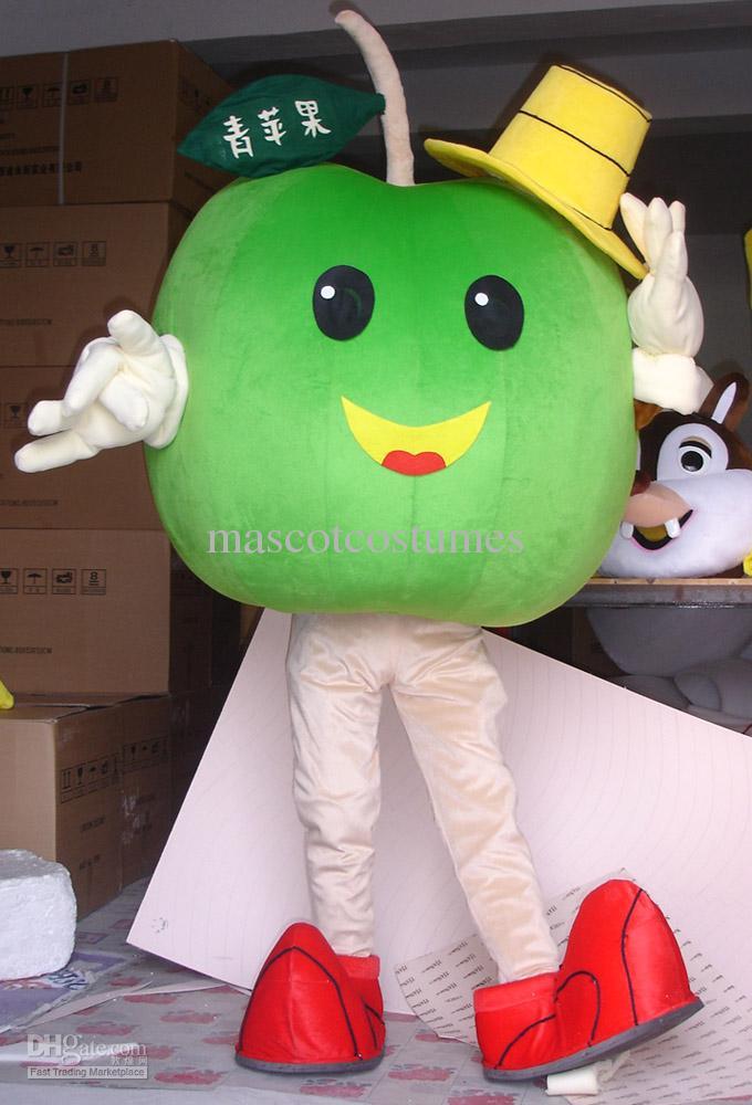 사용자 정의 봉제 녹색 사과 마스코트 의상 멋진 의상 카니발 의상 성인 크기 무료 배송 빠른 배달 경쟁력있는 가격