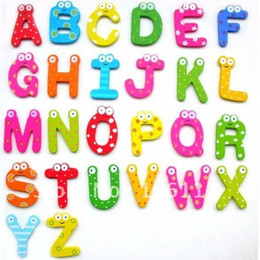 Wholesale Cute Magnetic Alphabet - Free Shipping 26 alphabet Wooden Colorful Cartoon Fridge Magnets Refrigerator sticker cute Magnetic