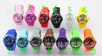 Wholesale Candy Colour Quartz - Hot Sales 60 Pcs Candy Jelly Watch Unisex Men's Women's Quartz Silicone Wrist Watches (13 Colours )