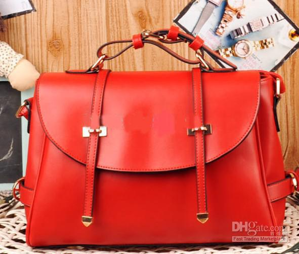 Restoring Red Leather Handbag Shoulder Bag Briefcase Attache Case ...