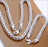 hombres 925 juegos de plata collar pulseras al por mayor-S059 cadena plateada plata 925 de calidad superior collar pulsera conjunto moda joyería de los hombres envío gratis