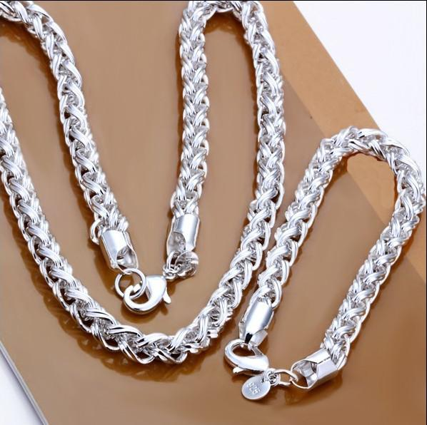 best selling S059 Top quality 925 silver plated chain Necklace & Bracelet Set Fashion Men's Jewelry Free Shipping