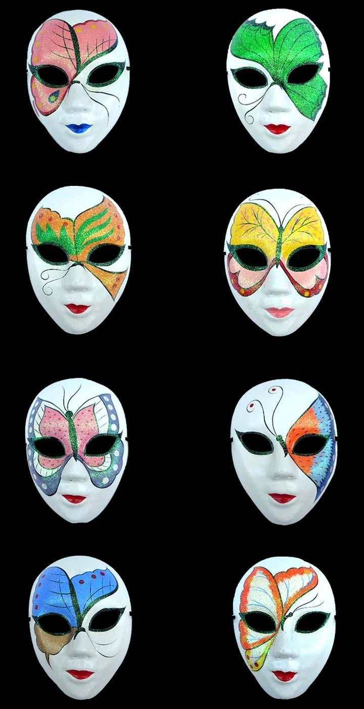 White Masquerade Masks Halloween Party Chinese Mache Women ...