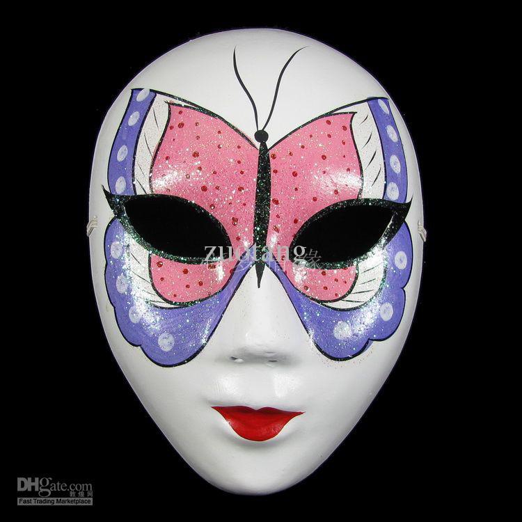 Papillon blanc papier Pulp parti masques pour les femmes décoration masque intégral masque de mascarade /