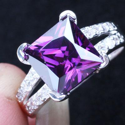 9x9mm Square Stone Princess Cut Purple Amethyst Silver Ring for Women Fashion Birthday Gift for Girlfriend R026