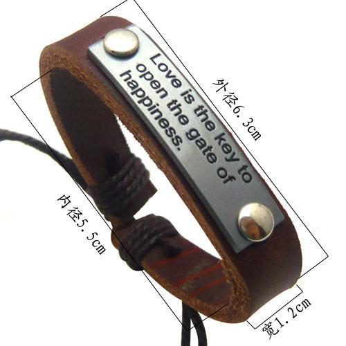 Pulseras English Character Pulsera de cuero con placa de aleación