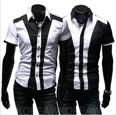 2017 New Mens Casual Slim Fit Stylish Dress Shirts Male Short ...