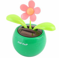 Wholesale Cool Toys For Big Kids - 1pcs lot Solar Powered Flip Flap Flower Cool Car Dancing Toy for London Olympic high quality 4 color