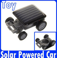 Wholesale Small Mini Toy Cars - DIY Educational Solar toys Smallest Mini Solar Powered Robot Racing Car Toy 100pcs free via DHL
