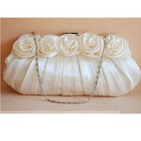 Wholesale Satin Roses Handbag - Rose Flower Bridal Handbag Free shipping High Quality Pleated satin material party clutch Evening Party Lady Purse
