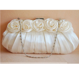 Wholesale Lace Wedding Clutches - Rose Flower Bridal Handbag Free shipping High Quality Pleated satin material party clutch Evening Party Lady Purse