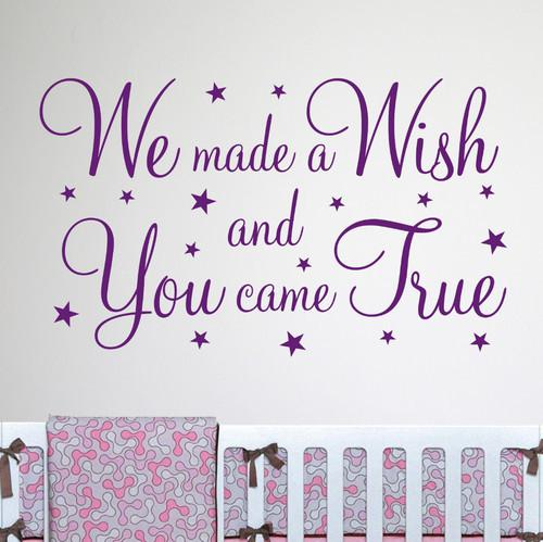 We Made A Wish Wall Quote Nursery Wall Decal Decor Sticker Vinyl Wall Art  Stickers Decals Part 29