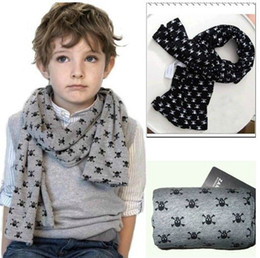 Wholesale Grey Scarf Skull - 5 pcs lot baby children's scarf, skull printing scarf, children shawls, parent-child scarf