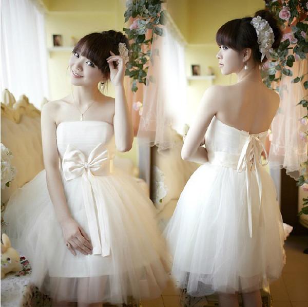 2012 new bridesmaid cute dress Korean lace up short evening dress ...