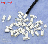 Wholesale End Tip Bead Caps - 200 SP Necklace Cord End Tip Beads Caps W Loop 9x4mm