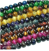 Wholesale Tiger Eye Round Beads - 40pcs lot Tiger Eye Round Gemstone Beads 8mm 10mm 12mm Free shipping
