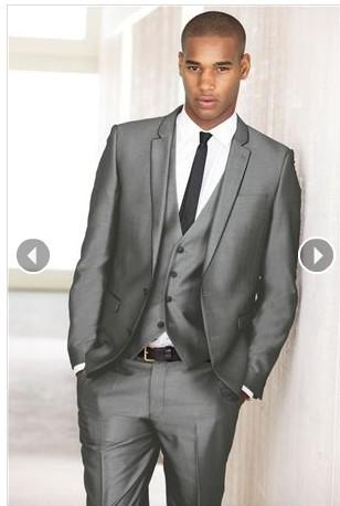 Two Button Grey Groom Tuxedos Men'S Prom Suit Wedding SuitsJacket ...