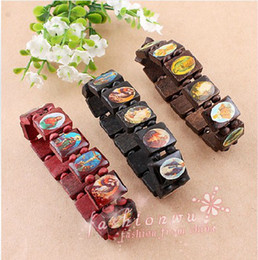 Wholesale Catholic Wholesalers - Fashion Saints Jesus Religious Wood Catholic Icon Bracelet 24pcs