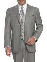 Wholesale Top Quality New Groom Tuxedos - Top quality Grey New Two Buttons Notch Lapel Groom Tuxedos Wedding Men's Suit Bridegroom Suits (Jacket+Pants+Tie+Vest) KO:117