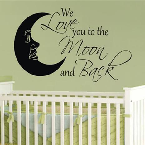 We Love You To The Moon Wall Quote Decal Decor Sticker Nursery Baby ...
