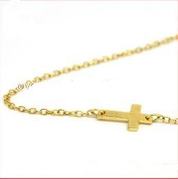 Wholesale Wholesale Sideways Crosses Pendants - Wholesale -hotsale fashion silver gold plated Sideways Cross necklace 16 inch LW1