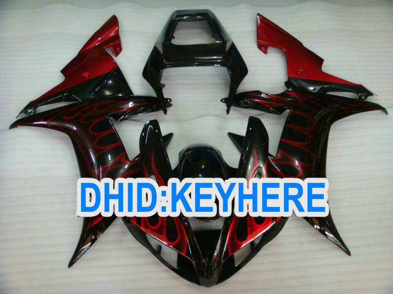 ABS RED Flame in black Custom fairing kit for YAMAHA YZF R1 2002 2003 YZF-R1 YZFR1 02 03 fairings