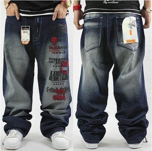 Gratis frakt!!! Nya män hiphop högkvalitativa sköljbroderi lösa skateboarding jeans
