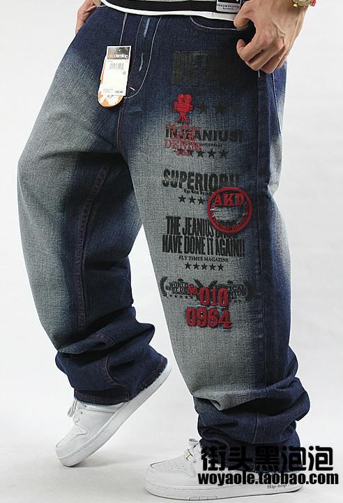 Kostenloser Versand!!! NEUE Herren HIPHOP hochwertige Spülung Stickerei lose Skateboard-Jeans