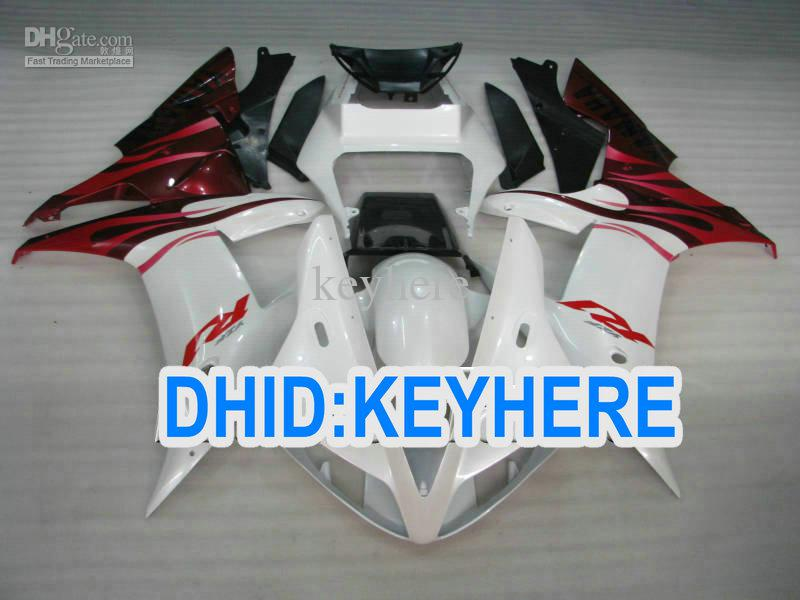 ABS RED flame in white Road Motorcycel fairing set for YAMAHA YZF R1 2002 2003 YZF-R1 YZFR1 02 03
