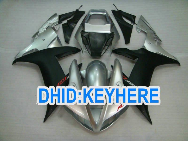 Fullset ABS kit de carenagem de reposição de prata / preto para YAMAHA 2002 2003 YZF R1 YZF-R1 02 03 YZFR1