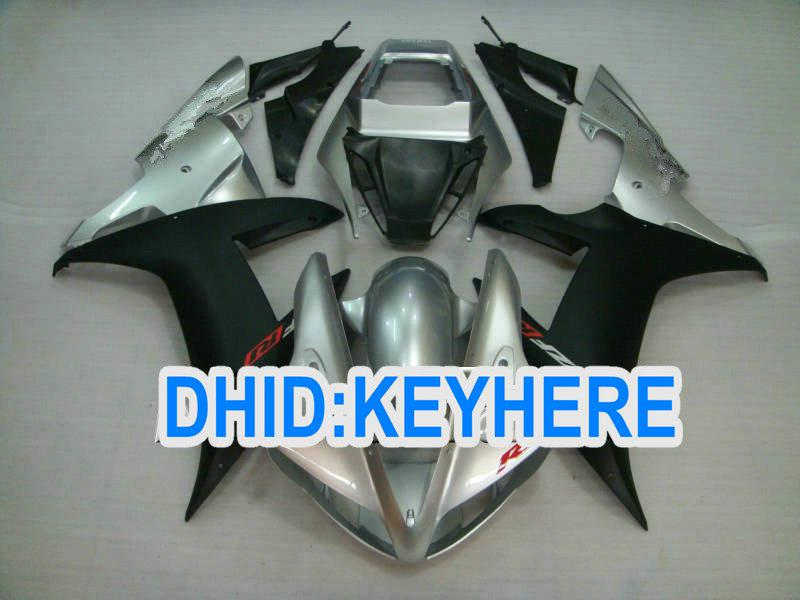 Fullset ABS Silver/Black Road Aftermarket fairing kit for YAMAHA 2002 2003 YZF R1 YZF-R1 02 03 YZFR1