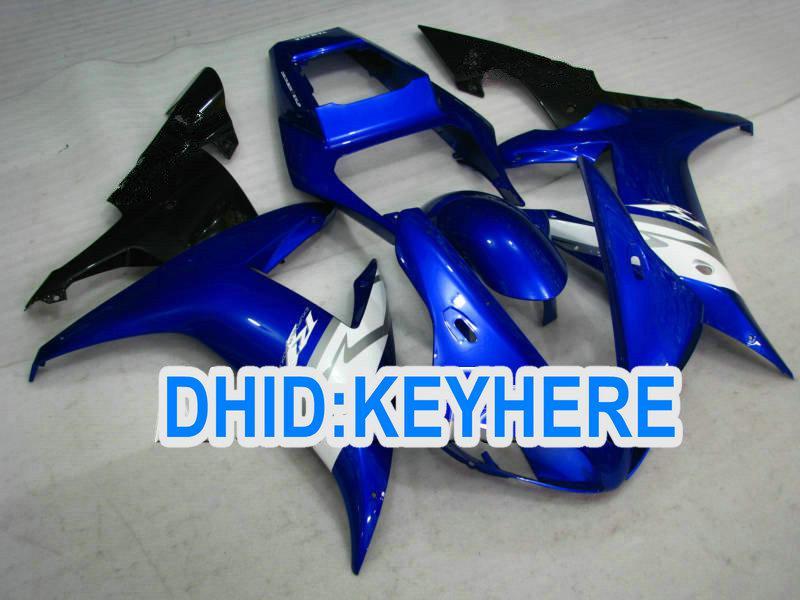 Blau / weiß BENUTZERDEFINIERTE Motorrad Verkleidung Kit für YAMAHA 2002 2003 YZF R1 YZF-R1 YZFR1 02 03 Verkleidung eingestellt