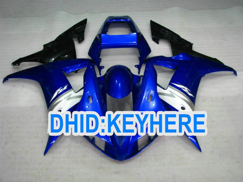 ヤマハ2002 2002 2003年YZF R1 yzf-r1 yzfr1 02 03フェアリングセットのための青/白の注文のオートバイフェアリングキット
