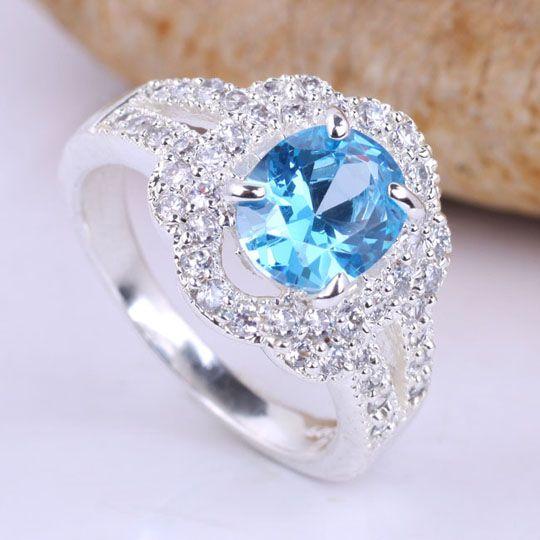 2019 Women Oval Stone Blue Topaz Multi Cz Embed Silver Wedding Rings