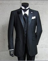 Tuxedos Groom Meilleur mariage homme Groomsman / Peak Revel Bridegroom (veste + pantalon + cravate + gilet) G416B
