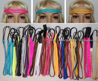 Wholesale Thin Leather Headband - Fashion soft pu double leather braided hair band, New thin skinny braid double headband Headwrap for Ladies hair accessory faux