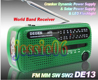 Wholesale Degen Sw Radio - DE13 CRANK DYNAMO SOLAR EMERGENCY AM FM SW DEGEN RADIO FM MM SW SW2 world Radio