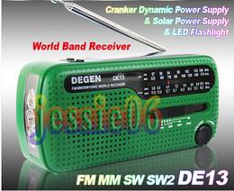 Wholesale Rechargeable Solar Batteries - DE13 CRANK DYNAMO SOLAR EMERGENCY AM FM SW DEGEN RADIO FM MM SW SW2 world Radio