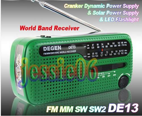 DE13 CRANK DYNAMO SOLAR EMERGENCY AM FM SW DEGEN RADIO FM MM SW SW2 world Radio