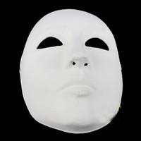 Wholesale Plain Paper Masquerade Masks - Unpainted Thicken Blank Masquerade Masks For Men Full Face Environmental Paper Pulp Plain White DIY Fine Art Painting Party Masks 10pcs lot