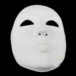 Wholesale Christmas Face Painting - Unpainted Thicken Blank Masquerade Masks For Men Full Face Environmental Paper Pulp Plain White DIY Fine Art Painting Party Masks 10pcs lot