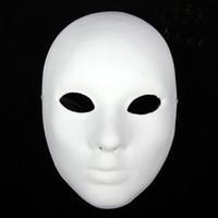 ingrosso maschera di protezione completa-Addensare le maschere bianche pianura delle donne per decorare le maschere ambientali della pittura di polpa delle maschere facciali del fronte pieno 10pcs / lot liberano il trasporto