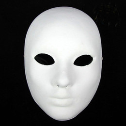 decorated masks 2019 - Thicken Women Plain White Masks To Decorate Full Face Environmental Pulp Masks DIY Fine Art Painting Masks 10pcs lot Fre