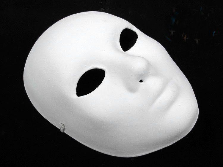 Espesar sin pintar en blanco Mascaradas Máscaras Para Hombres Pulpo de Papel Ambiental de la Cara Completa Llanura Blanco DIY Pintura Fine Art Party Máscaras 10 unids / lote