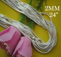 925 serpiente de plata de 2 mm 24 pulgadas al por mayor-Hit Parade Popular 80pcs 925 Silver 2mm Collar de cadena de serpiente 24inch / 61cm Collar de joyería