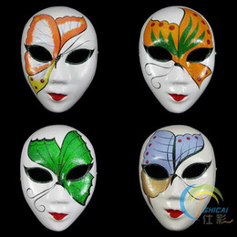 Wholesale White Paper Butterflies - Butterfly White Paper Pulp Party Masks for Women Decorating Full Face Masquerade Mask 50pcs lot